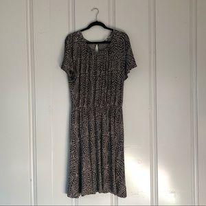 Tan/Black Knee Length Dress